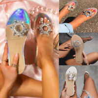 Womens Slip On PVC Mule Sliders Sandals Flat Embellished Slippers Casual Shoes