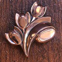 "Vintage Signed Renoir 3 Tulip Flower 2 1/2"" Copper Pin Brooch"