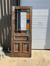 Large Queen Anne stain glass victorian age door 90/36/2� - 2 cracked panes