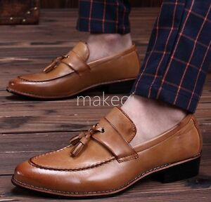 New Mens Brogue Tassel Retro Loafers Oxford Low Heel Dress Formal Shoes Business
