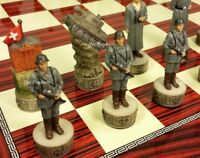 "WW2 US vs GERMANY Chess Set W 17"" Gloss Cherry Color Board World War 2"