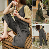 ZANZEA Women Sleeveless Casual Loose Playsuits Bib O-Neck Solid Party Jumpsuits