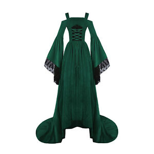 Medieval Renaissance Dress Lace Women Costume Velvet Strap Bell Sleeve Plus Size