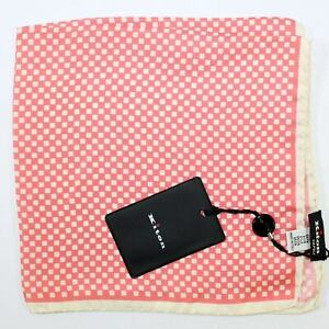 100% new KITON Silk Pocket Square Pink White Hankie Sartorial $215 NWT - 200592