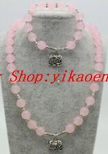 "Natura 8mm Pink Jade Round Gems Beads Necklace Bracelets Jewelry Sets 18""&7.5"""