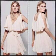 Free People Sylvia Wrap Dress Beaded Size Medium Light Pink Peach New
