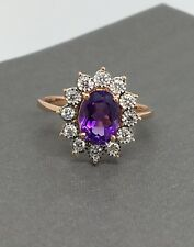 14K Solid Rose Gold Natural Diamond and Amethyst Ring