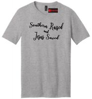 Southern Raised and Jesus Saved Mens V-Neck T Shirt Country Religious Gift Tee