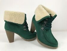 Saint Galant Faux Suede/Fur Chelsea Lace Up Cuban Heel Ankle Cuff Boots Green 4