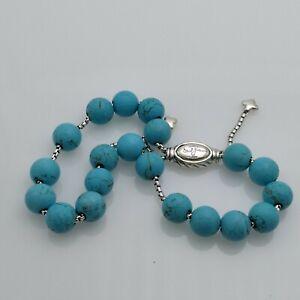 DAVID YURMAN Spiritual Bead Bracelet Sterling Silver With Turquoise SS/925