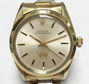 MENS ROLEX OYSTER PERPETUAL WATCH GOLD PLATED HALLMARK CARDS DESIGN #1024 ESTATE