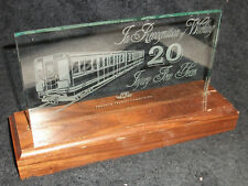 TORONTO TRANSIT COMMISSION TTC TROPHY AWARD 20 YEARS INJURY FREE ETCHED GLASS