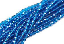 100 Capri Blue Czech Glass Faceted Round Beads 4MM