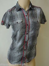 ☆ Girls Black/White Checked 100% Cotton Shirt Blouse Top Age 15-16 years ☆