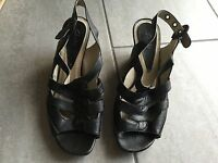 Clarks Ladies Black Wedge Slingback Shoes / Sandals Size 7. Great Condition.