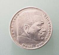 5 Reichsmark 1936 - A - 900-er -Silber Silbermünze Hindenburg Reichsadler  - vz
