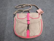 "Melie Bianco ""Callie"" Beige w/ Pink Neon Shoulder Bag Cross Body Purse Messenger"