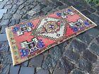 Vintage Turkish small rug, Handmade wool rug, Doormats, Decor rug   1,4 x 2,7 ft