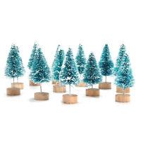 New 12pcs Mini Sisal Bottle Brush Christmas Trees Snow Frost Village Putz Great