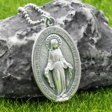 "Extra Large 1-3/4"" Miraculous Medal Virgin Mary Pendant Necklace Italy 24"" Chain"