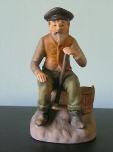 """A VINTAGE CONTINENTAL? CHINA FIGURE OF A MAN (MATCH-HOLDER): 6"""" TALL: VGC"""