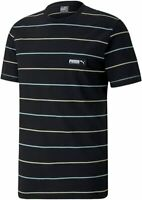 PUMA Herren T-Shirt Fusion Striped  gestreift Schwarz Gr. M / L / XL / XXL