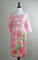 LILLY PULITZER $178 Silk Cotton Garden Floral Lined Sheath Dress Size 10