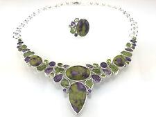 925 Sterling Silber Collier Ring Fuchsit Rubin Amethyst Grüntoppas Einzelstück