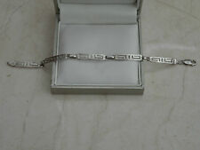 "Beautiful 7.5"" SIXTAR MEXICO MS-66 Marked Sterling Silver Grecian Bracelet 6.2g"