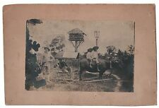 Vintage 1900s  B&W Photo Ox Cart The Phillipines