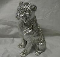 Edel Mops Luxus Figur Hund in silber Optik Deko >>NEU<<