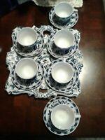 13 Pc. Vienna Woods Blue Onion Fine China Demitasse Espresso Set Seymour Mann