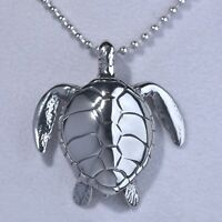 """Silver Lucky Fortune Hawksbill sea turtle Feng Shui Pendant Chain Necklace 24"""""""