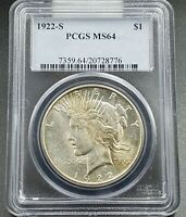 1922 S $1 Peace Silver Dollar PCGS MS64 Some Toning Choice BU Uncirculated