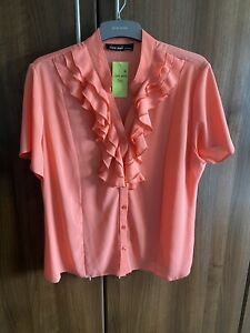 Brand New Coral Top Shirt blouse Frill Detailing size 18 Bnwt