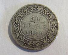 1899 Newfoundland Silver 50 Cent Coin Old Canada Queen Victoria Half Dollar VG