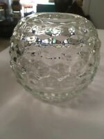 Vintage Clear Glass Honeycomb Hair Receiver Sawtooth Edge Fairy Lamp Votive