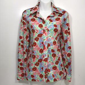 Vintage 1960\u2019s Mock Neck Fern Pattern Blouse xs small