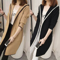 Women Casual Long Sleeve Hooded Long Coat Jacket Cardigan Outwear Overcoat Tops