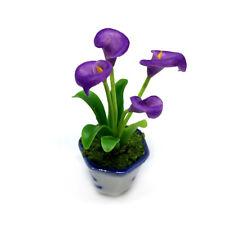 Purple Calla Lily Clay Flower Ceramic Pot Dollhouse Miniature Tiny Handmade