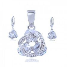 18K WHITE GOLD GP& GENUINE CZ & AUSTRIAN CRYSTAL CLEAR  NECKLACE & EARRING SET