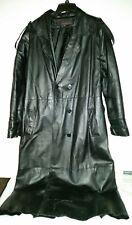 PHASE TWO Leather Black full lined LONG RIDER STYLE Coat- Black-Sz lt UNISEX??