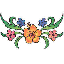 """Lower Back"" Temporary Tattoo, Multi-Colored Flowers, USA Made"