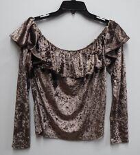 Persaya Jr Womens Size XLarge Mocha Velvet Off-the-Shoulder Ruffle Top Shirt New