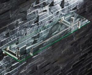 52CM Stainless Steel Bath Shelf Wall-Mounted Glass Single Layer Shower Caddy
