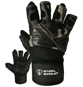 Steel Sweat Unisex Leather Workout Weightlifting Gym Fitness Gloves Camo 2XL