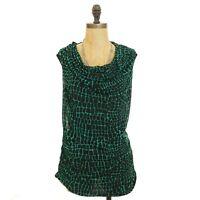 Dana Buchman Ruched Top Size M Drape Neck Sleeveless Blouse Green Black NEW B50