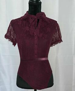 Victoria Secret Lingerie Lace Buttoms Up Collar Bow One Piece Red Wine Size S