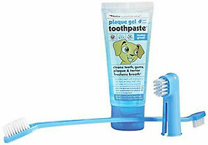 Petkin Plaque And Tartar Dog Dental Gel Dual End Long Brush And Finger Brush Kit