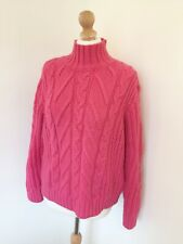 Marks and Spencer Jumper Medium 12 14 Pink Cable Knit High Neck Comfy Slouch